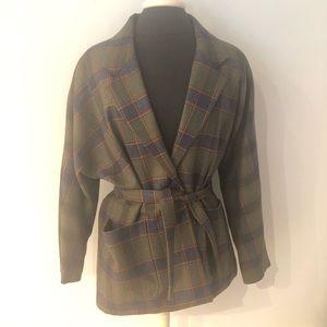 Vintage Handmade Wool Plaid Blazer Tie Self Belt L